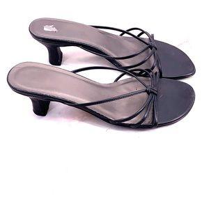 Vintage square toe black strapped sandals size 6